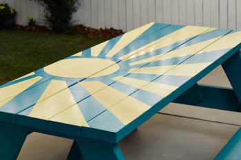 Painting a wooden picnic table