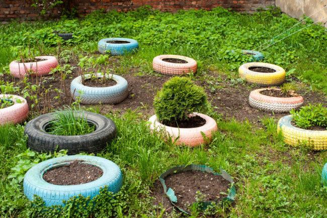 Tire Planters Garden