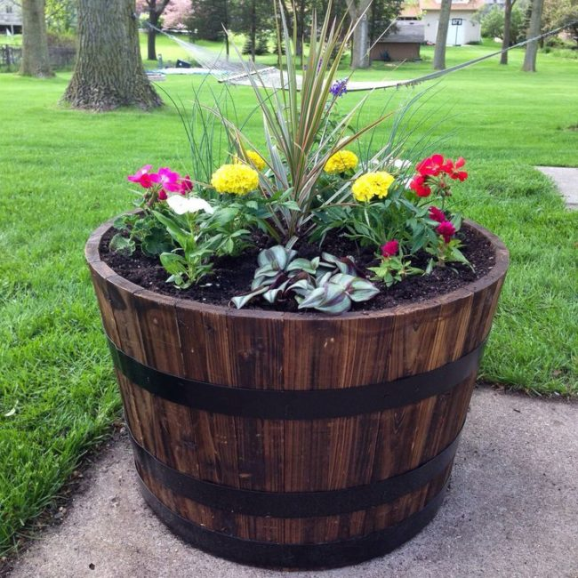 Wine Barrel Planter DIY