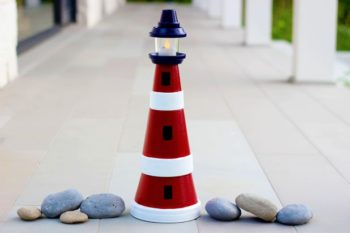 lighthouse made with clay pots