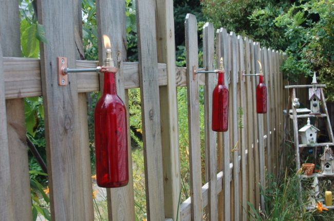 recycled wine bottle tiki torch