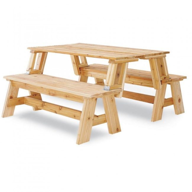 wood picnic table that turns into a bench