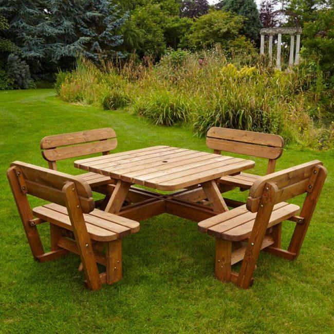 wooden garden picnic tables