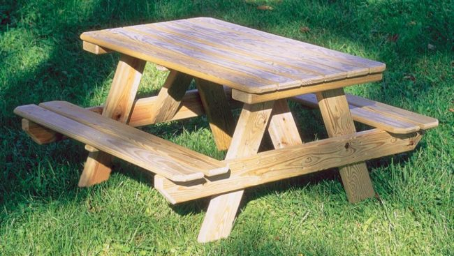 wooden picnic tables benches