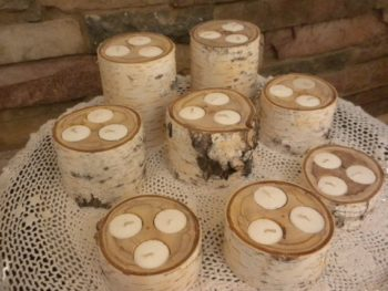 Birch Fire Log Candle Holders