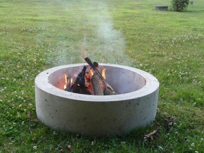 plain diy wood burning concrete fire bowl wall
