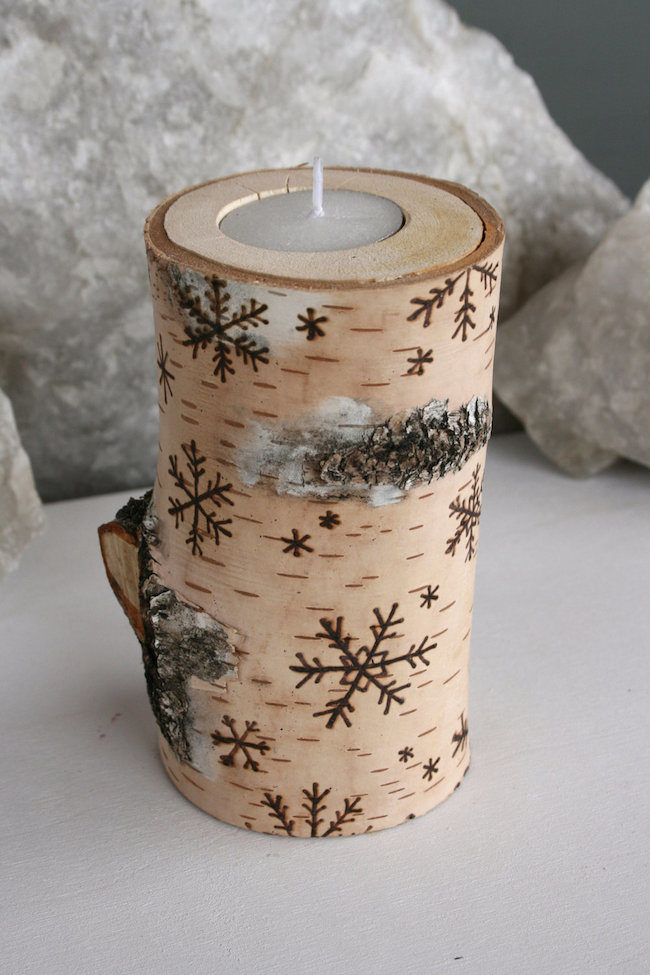 DIY Birch Log Candle Holders