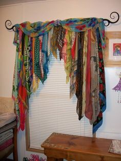 DIY Patchwork Curtains Made from Vintage Scarves