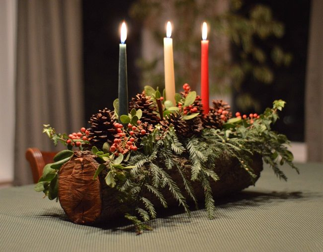 Diy Yule Log Candle Holder