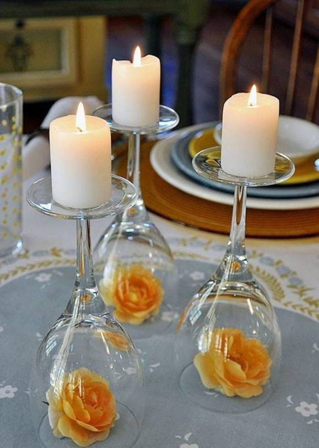 Dinner Table Wine Glass Tealight Candles