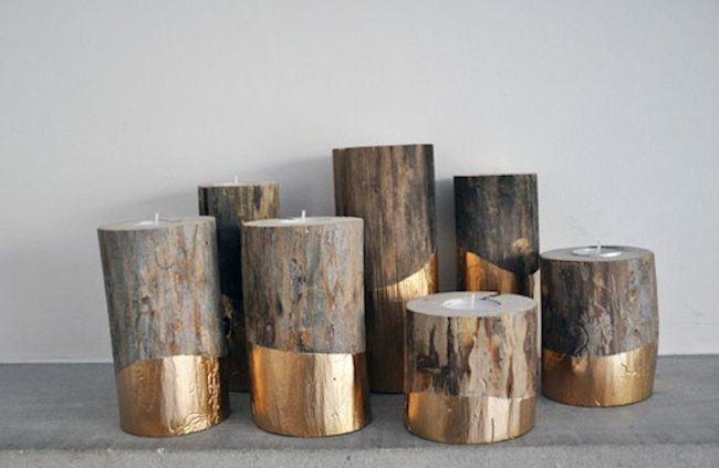 Fireplace Log Candle Holder