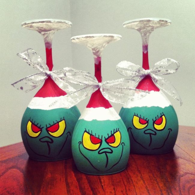 Grinch Wine Glass Candle Holder