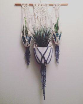 Hanging macramé planter