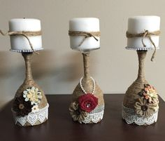 Homemade Rustic Wine Glass Candle Holders