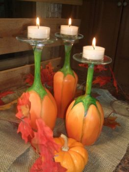 Make Your Own Pumpkin Wine Glass Candle Holders
