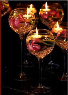Wine Glass Floating Candle