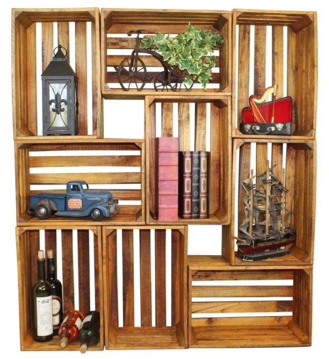 Wooden garden crates inhabit zone - Decorative wooden crates ...