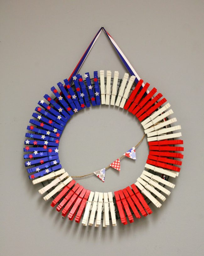 Red white and blue clothespin wreath