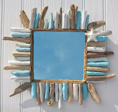 Driftwood Painted Mirror