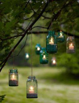 Mason Jar Lanterns In Trees