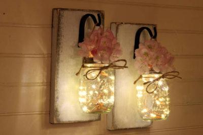 Mason Jar Lanterns Wall