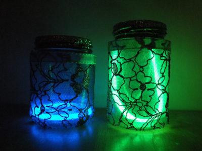 Mason Jar Lanterns With Glow Sticks