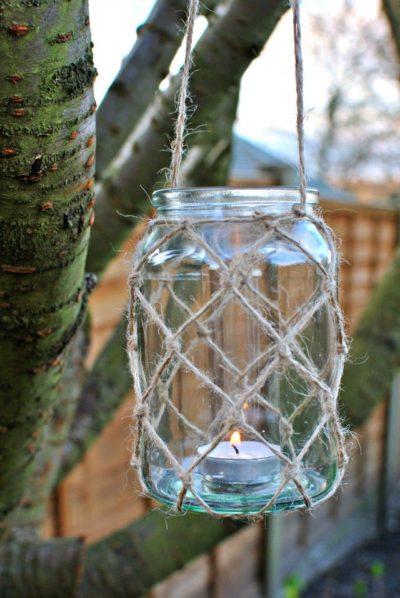 Mason Jar Lanterns With Twine