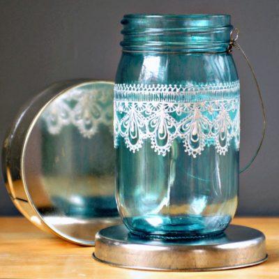 Painted Mason Jar Lanterns DIY