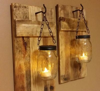 Rustic Hanging Mason Jar Lanterns