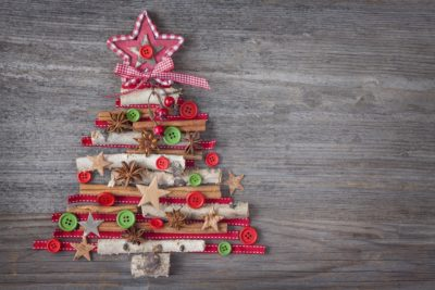 Vintage Wooden Christmas Tree Decorations
