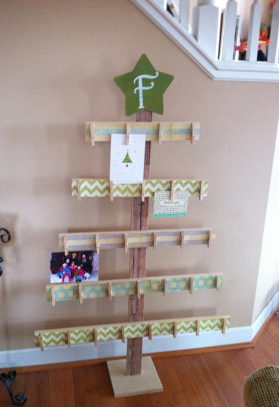 Wooden Christmas Tree Card Holder