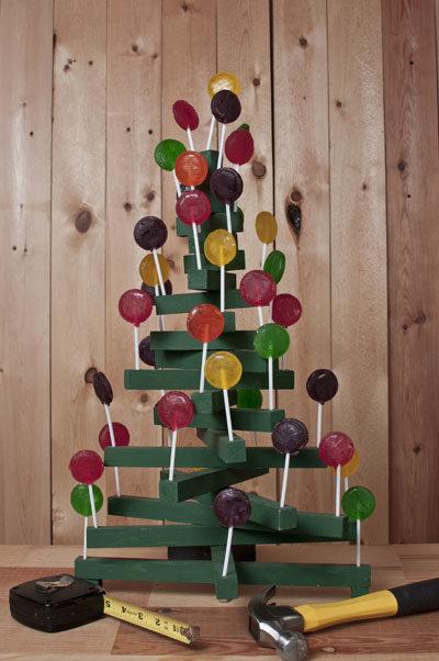 Wooden Christmas Tree Lollipop Holder