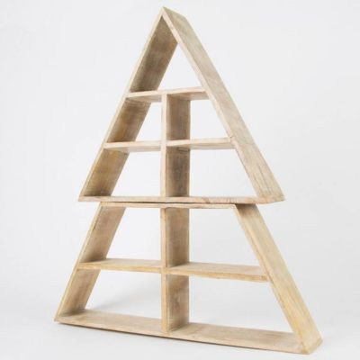wooden christmas tree shelf