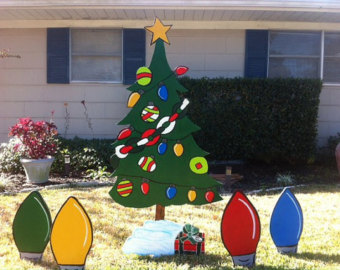 wooden christmas tree yard decorations
