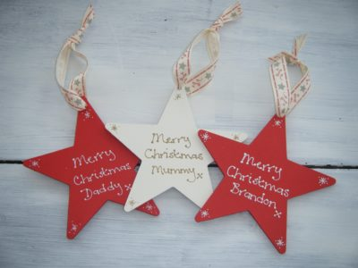 Wooden Star Christmas Tree Ornaments