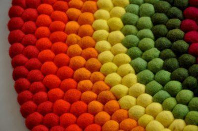 Rainbow Felt Ball Rug