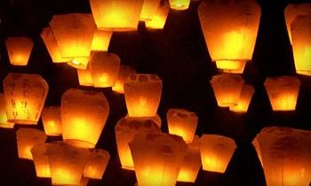 Chinese floating paper lanterns